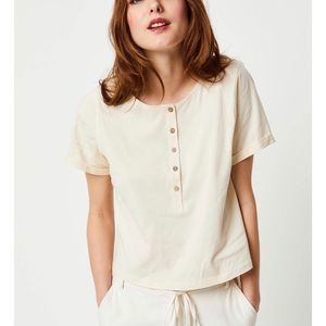 Free People What's Up Henley t-shirt in ivory